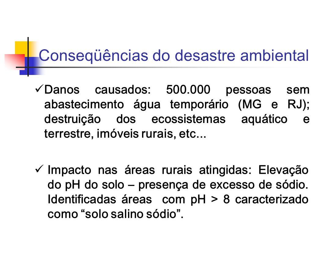 Conseqüências do desastre ambiental Danos causados: 500.000 pessoas sem abastecimento água temporário (MG e RJ); destruição dos ecossistemas aquático e terrestre, imóveis rurais, etc...