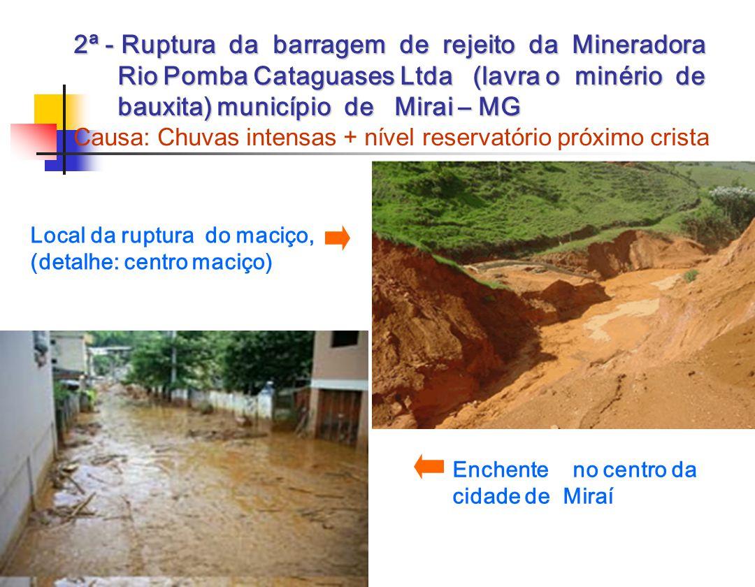 2ª - Ruptura da barragem de rejeito da Mineradora Rio Pomba Cataguases Ltda (lavra o minério de bauxita) município de Mirai – MG 2ª - Ruptura da barragem de rejeito da Mineradora Rio Pomba Cataguases Ltda (lavra o minério de bauxita) município de Mirai – MG Causa: Chuvas intensas + nível reservatório próximo crista Local da ruptura do maciço, (detalhe: centro maciço) Enchente no centro da cidade de Miraí