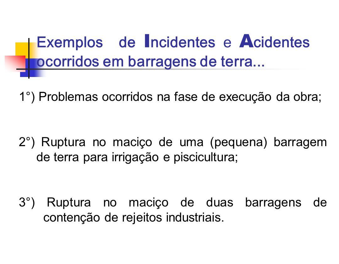 Exemplos de I ncidentes e A cidentes ocorridos em barragens de terra... 1°) Problemas ocorridos na fase de execução da obra; 2°) Ruptura no maciço de