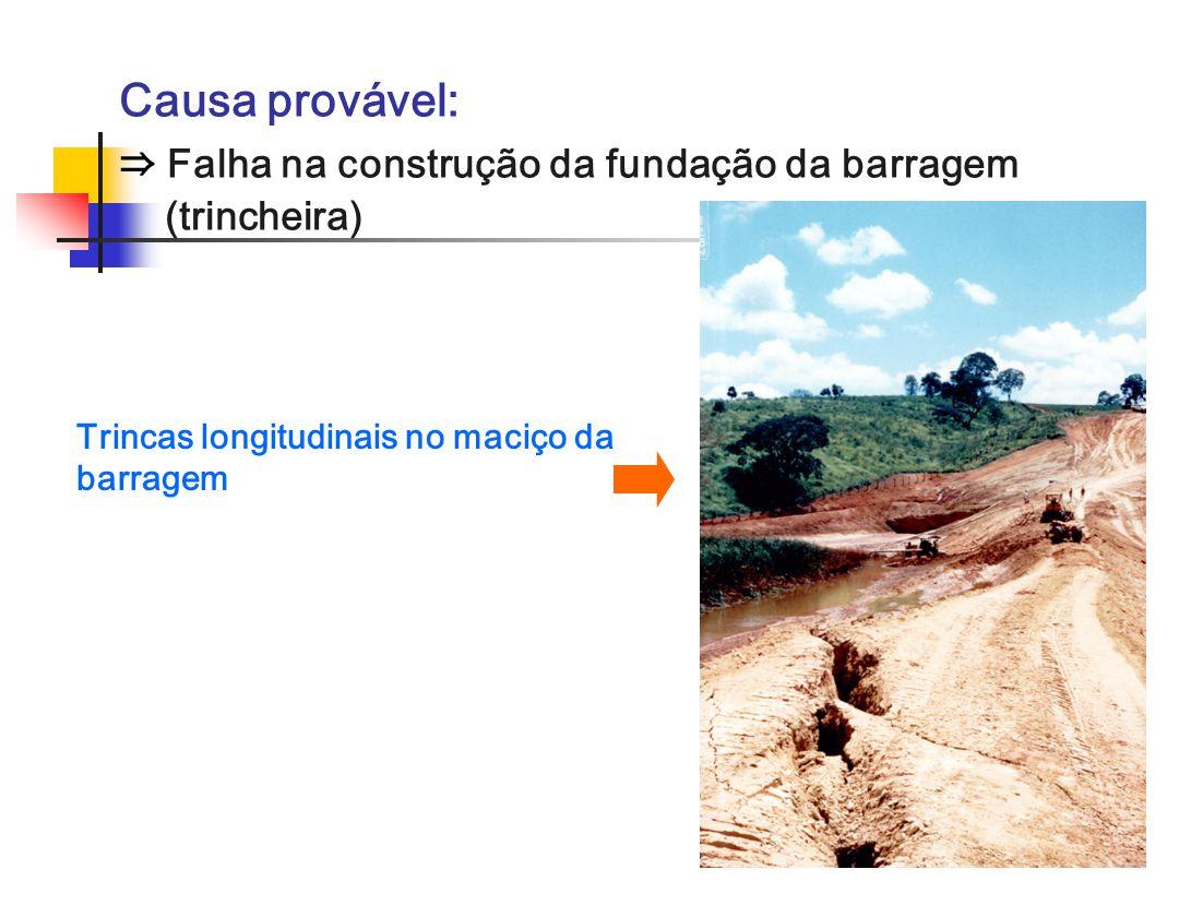 Trincas longitudinais no maciço da barragem Causa provável: Falha na construção da fundação da barragem (trincheira)