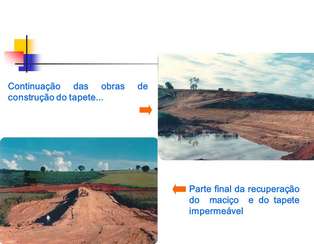 Vista geral do maciço após as obras de recuperação e construção de uma vala/filtro (talude jusante da barragem) Controle da percolação no maciço da barragem