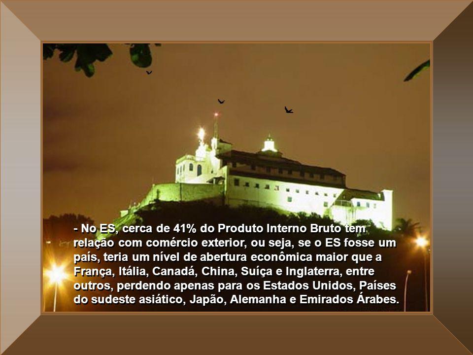 - No ES, cerca de 41% do Produto Interno Bruto tem relação com comércio exterior, ou seja, se o ES fosse um país, teria um nível de abertura econômica maior que a França, Itália, Canadá, China, Suíça e Inglaterra, entre outros, perdendo apenas para os Estados Unidos, Países do sudeste asiático, Japão, Alemanha e Emirados Árabes.