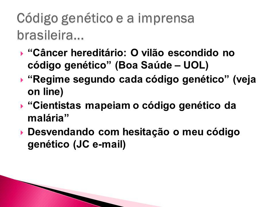 Câncer hereditário: O vilão escondido no código genético (Boa Saúde – UOL) Regime segundo cada código genético (veja on line) Cientistas mapeiam o código genético da malária Desvendando com hesitação o meu código genético (JC e-mail)