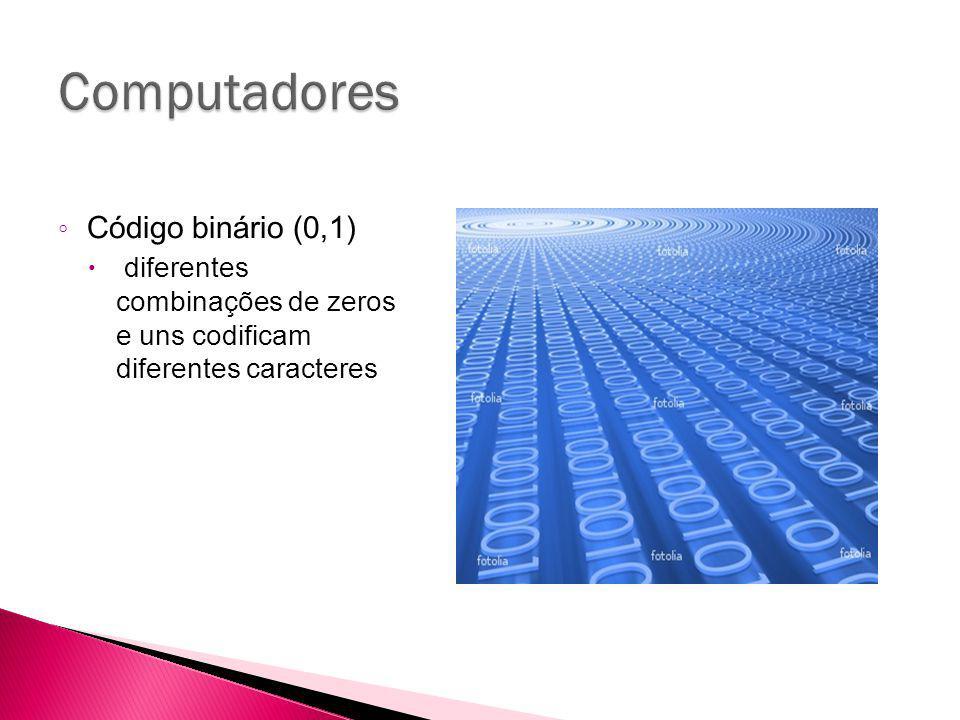 Código binário (0,1) diferentes combinações de zeros e uns codificam diferentes caracteres