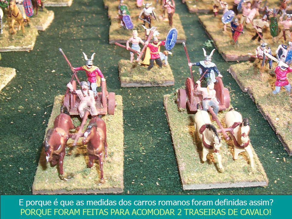 E porque é que as medidas dos carros romanos foram definidas assim? PORQUE FORAM FEITAS PARA ACOMODAR 2 TRASEIRAS DE CAVALO!
