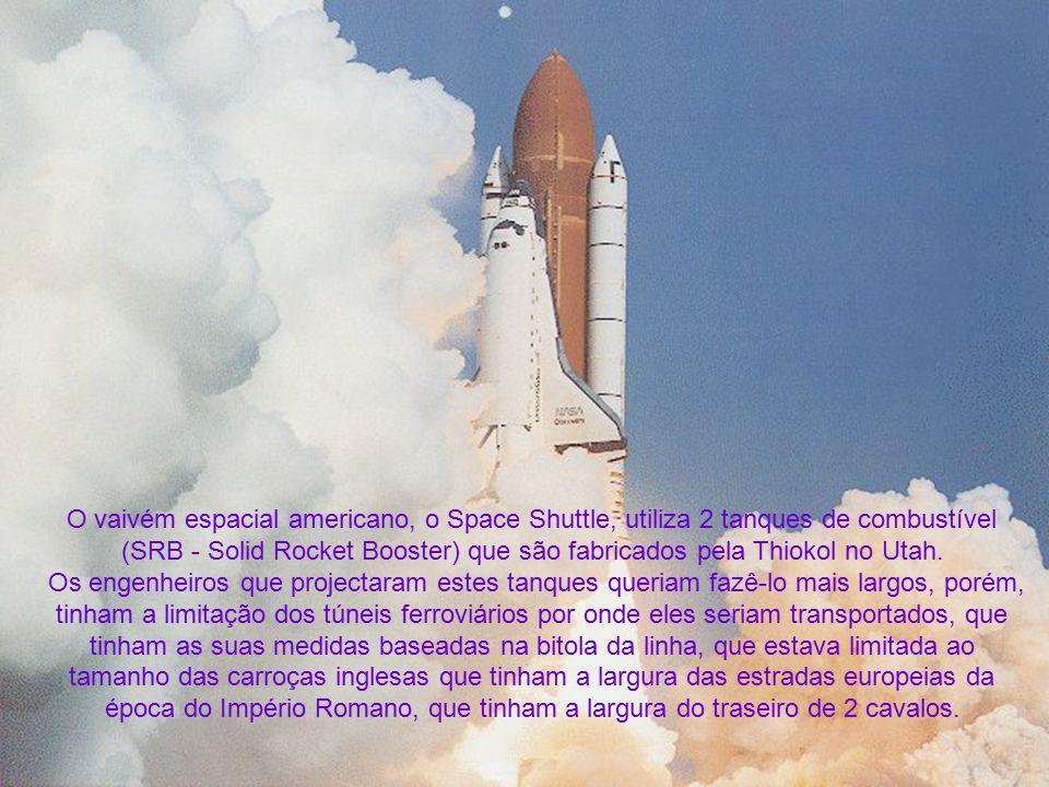 O vaivém espacial americano, o Space Shuttle, utiliza 2 tanques de combustível (SRB - Solid Rocket Booster) que são fabricados pela Thiokol no Utah. O