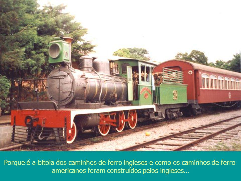 Porque é a bitola dos caminhos de ferro ingleses e como os caminhos de ferro americanos foram construídos pelos ingleses…