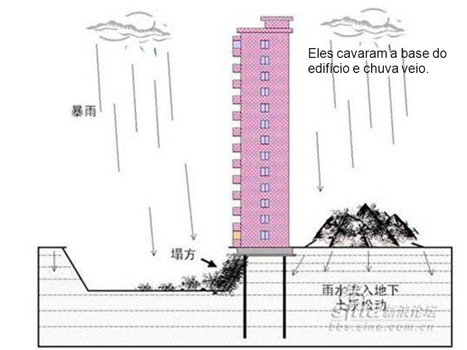 Eles cavaram a base do edifício e chuva veio.
