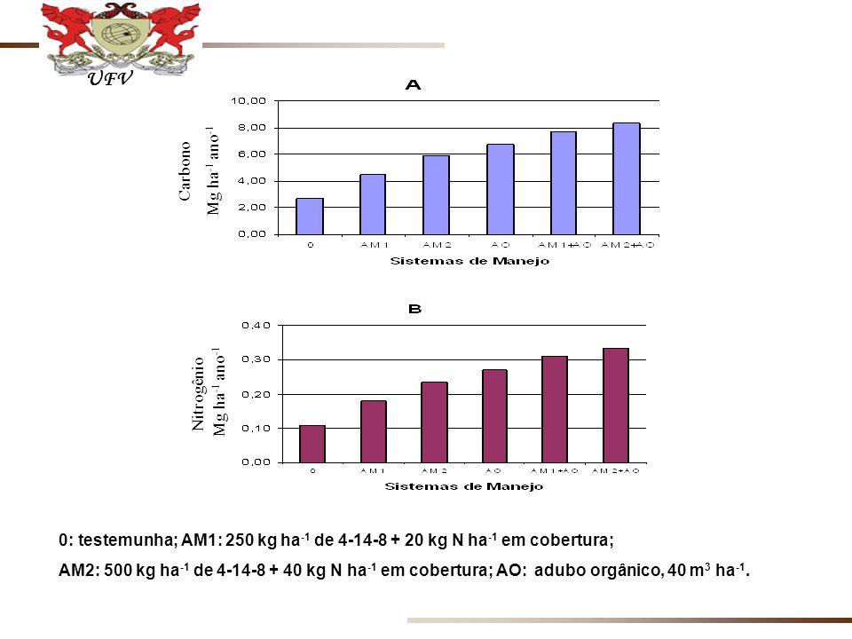 0: testemunha; AM1: 250 kg ha -1 de 4-14-8 + 20 kg N ha -1 em cobertura; AM2: 500 kg ha -1 de 4-14-8 + 40 kg N ha -1 em cobertura; AO: adubo orgânico, 40 m 3 ha -1.