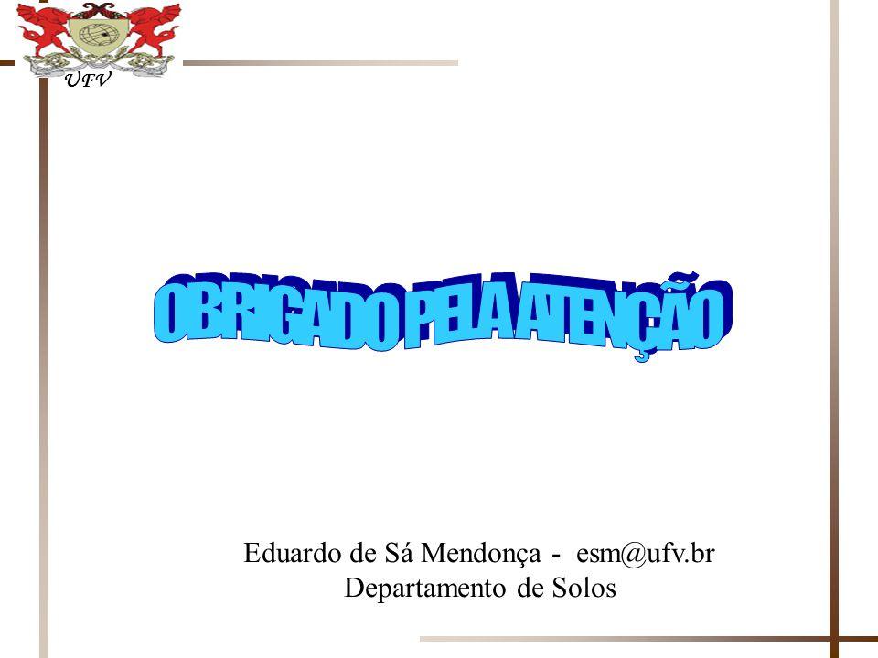 OBRIGADO PELA ATENÇÃO UFV Eduardo de Sá Mendonça - esm@ufv.br Departamento de Solos
