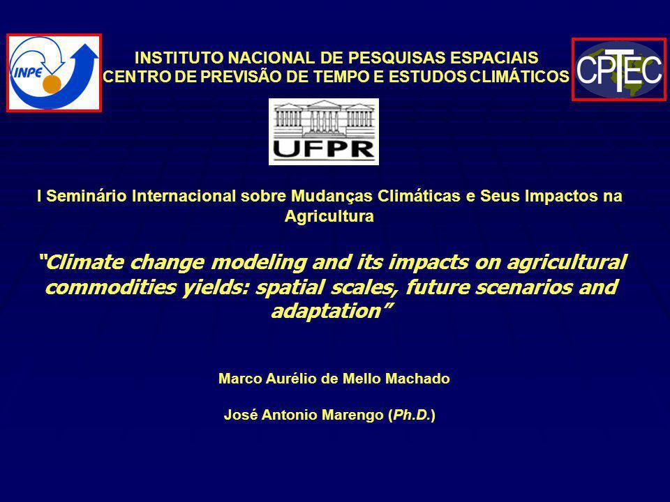 Comportamento da precipitação (linha laranja) e temperatura máxima (linha azul) durante a estação de crescimento da cultura do milho, no ano de 1988, a partir de 1 o de novembro, até a data provável de colheita.