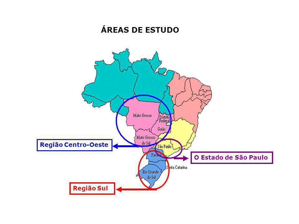 Região Centro-Oeste O Estado de São Paulo Região Sul ÁREAS DE ESTUDO