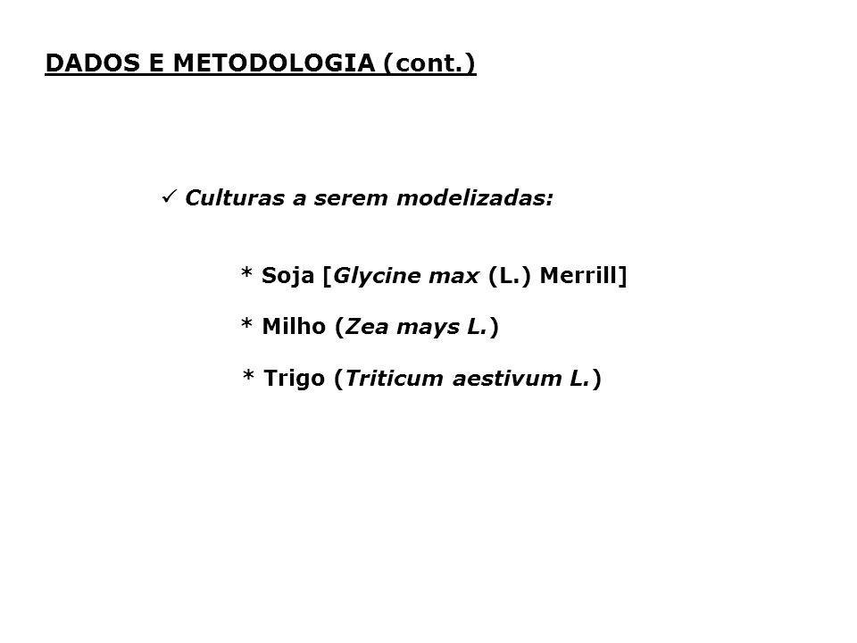 Culturas a serem modelizadas: * Soja [Glycine max (L.) Merrill] * Milho (Zea mays L.) * Trigo (Triticum aestivum L.) DADOS E METODOLOGIA (cont.)