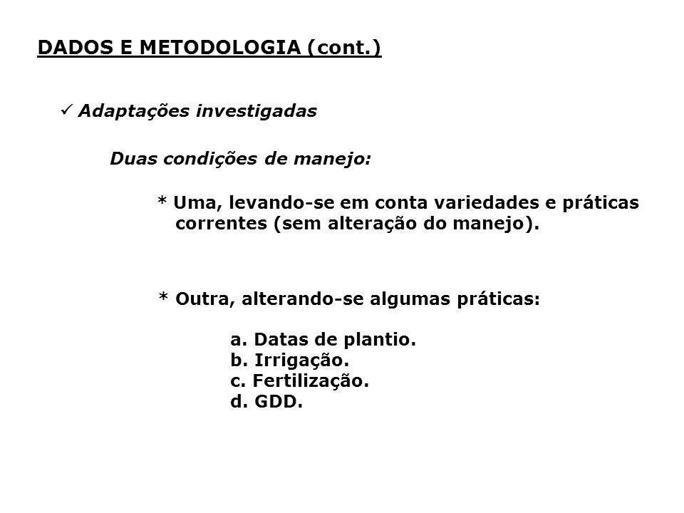 * Outra, alterando-se algumas práticas: a. Datas de plantio. b. Irrigação. c. Fertilização. d. GDD. DADOS E METODOLOGIA (cont.) Adaptações investigada