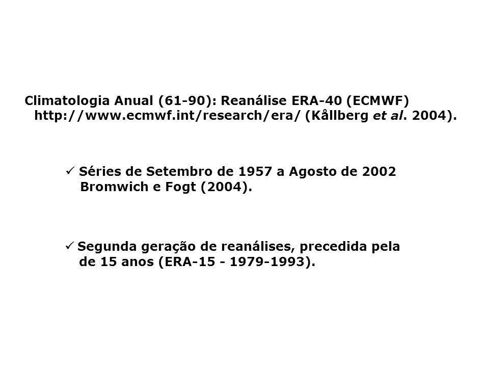 Segunda geração de reanálises, precedida pela de 15 anos (ERA-15 - 1979-1993). Climatologia Anual (61-90): Reanálise ERA-40 (ECMWF) http://www.ecmwf.i