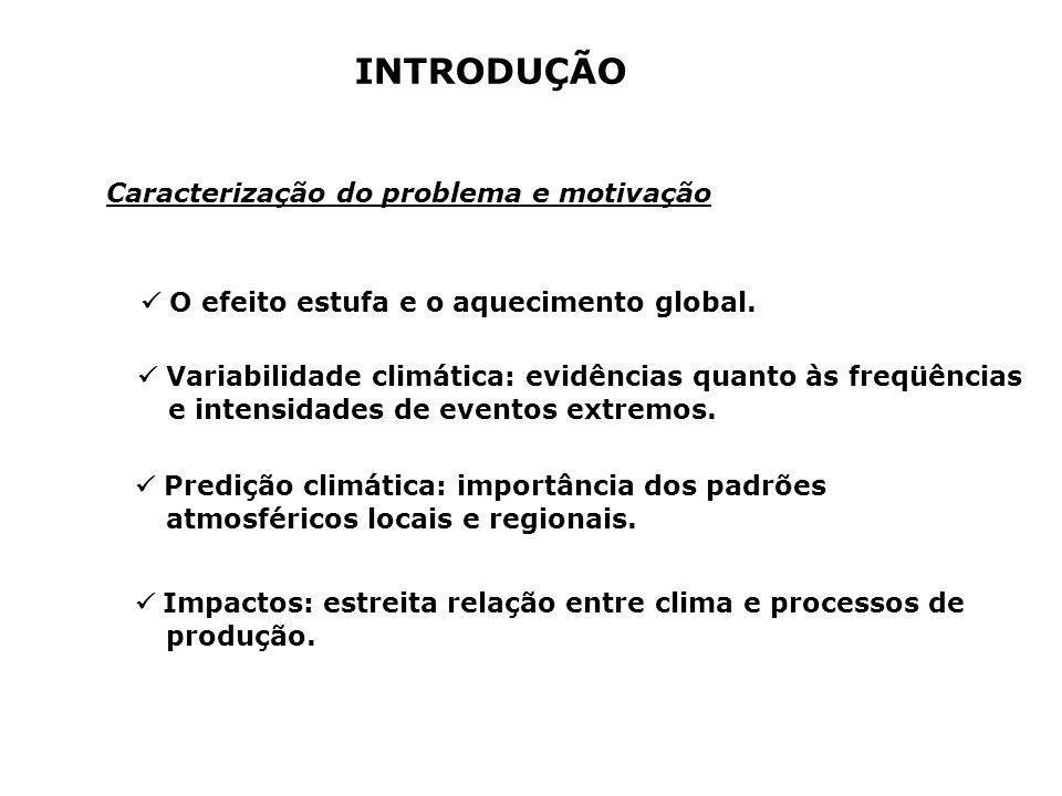 INTRODUÇÃO Caracterização do problema e motivação O efeito estufa e o aquecimento global. Variabilidade climática: evidências quanto às freqüências e