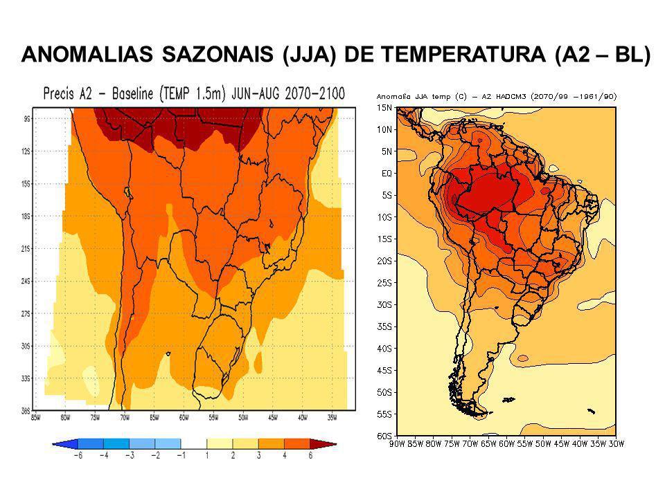 ANOMALIAS SAZONAIS (JJA) DE TEMPERATURA (A2 – BL)