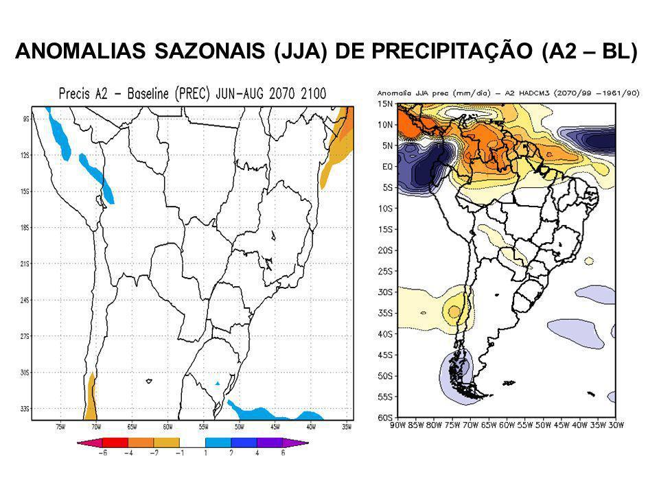 ANOMALIAS SAZONAIS (JJA) DE PRECIPITAÇÃO (A2 – BL)