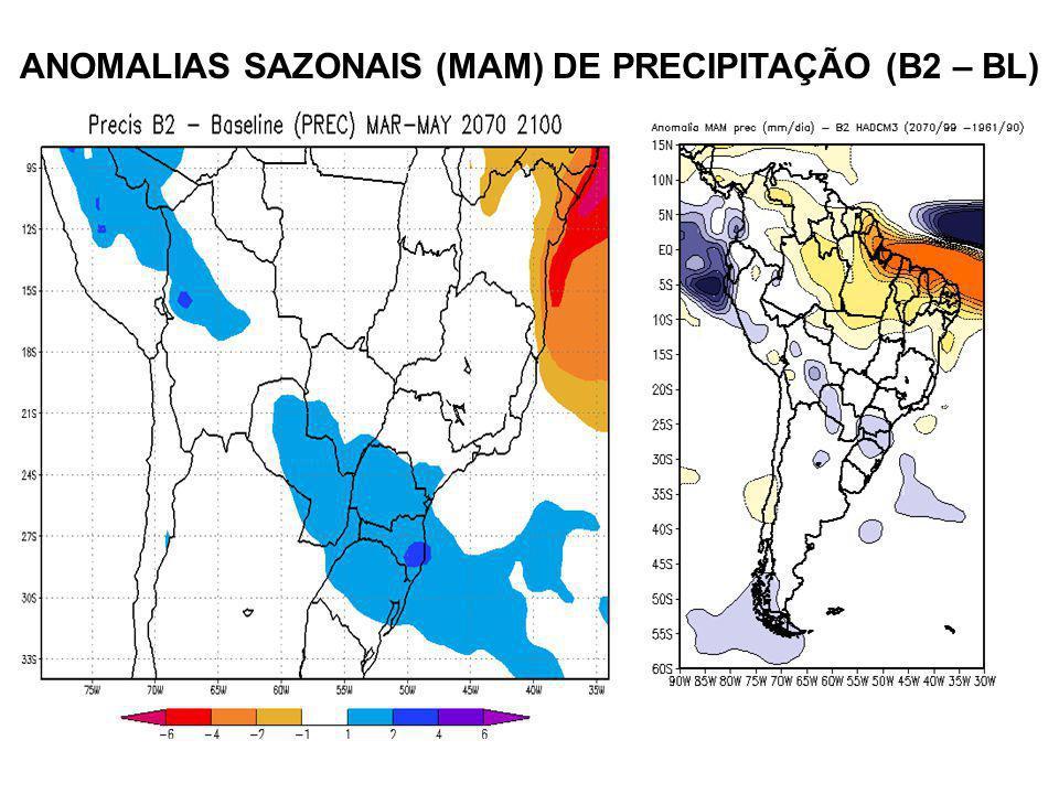 ANOMALIAS SAZONAIS (MAM) DE PRECIPITAÇÃO (B2 – BL)