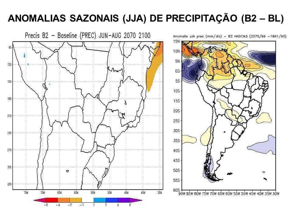 ANOMALIAS SAZONAIS (JJA) DE PRECIPITAÇÃO (B2 – BL)