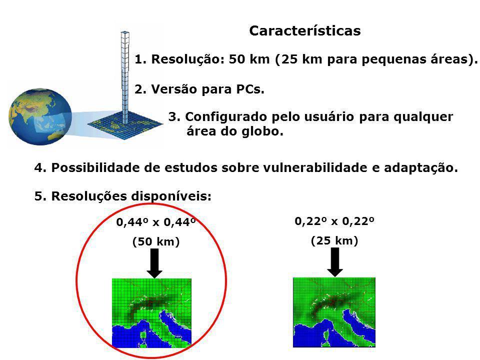 Características 1. Resolução: 50 km (25 km para pequenas áreas). 2. Versão para PCs. 3. Configurado pelo usuário para qualquer área do globo. 4. Possi