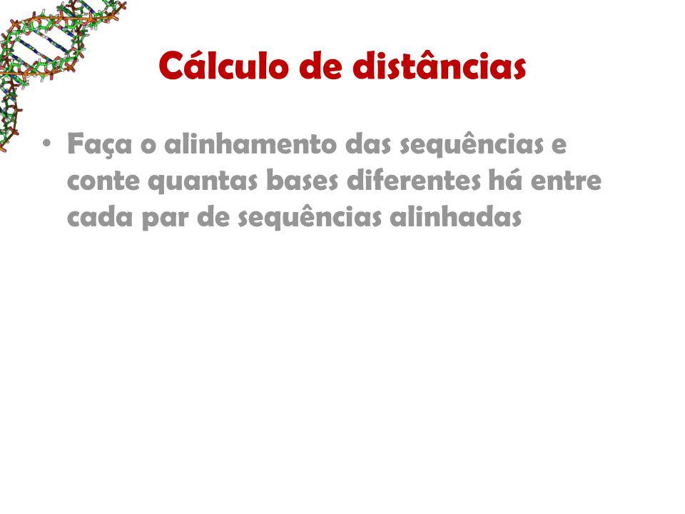 Cálculo de distâncias Faça o alinhamento das sequências e conte quantas bases diferentes há entre cada par de sequências alinhadas