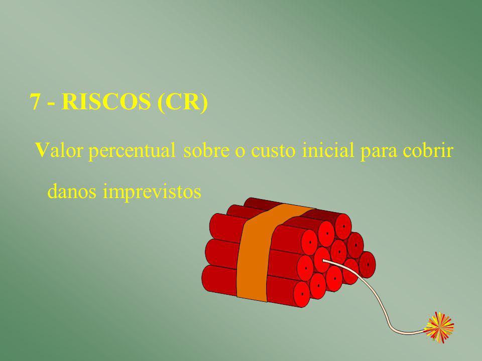 11 6 - CUSTOS MANUTENÇÃO E CONSERVAÇÃO (CMC) CMC = 0,01 ( Csec + Cmot + Cfund + CI )