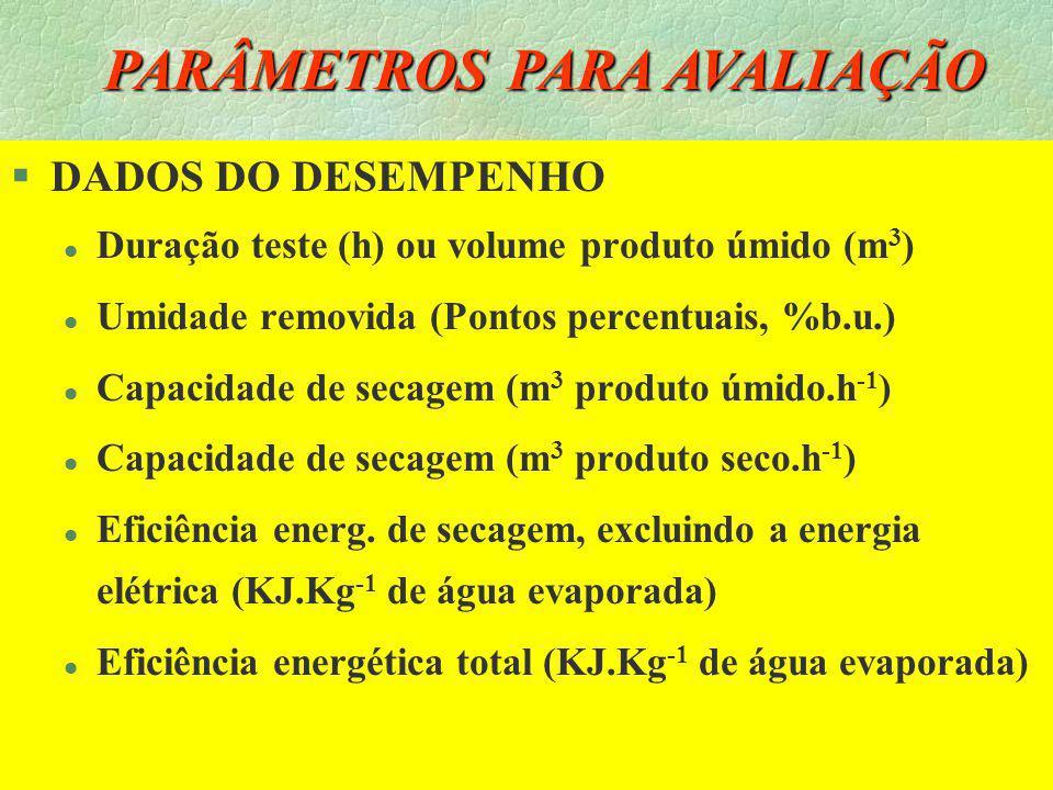 21 PARÂMETROS PARA AVALIAÇÃO §ESPECIFICAÇÕES DO SECADOR l Densidade de fluxo de ar (m 3.min -1.m -2 ) l Volume total (m 3 ) ou fluxo de grãos (m 3.