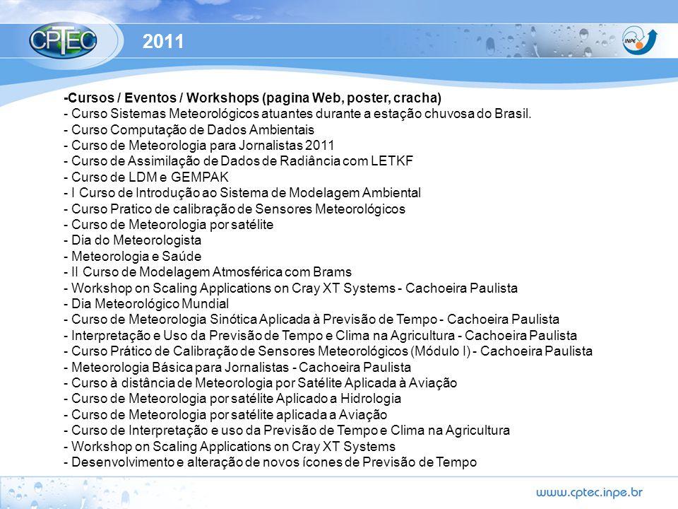 2011 - Elaborações de animações para TV(Globo news) -Migração da base de dados Oracle para Postegres na página de Banco de dados - Manutenção intranet e internet - Manutenção/modificações dos produtos específicos dos clientes do CPTEC - Raios no Grads Online - Produtos de precipitação Online para o MCT com dados das PCDs do INMET - Produtos para novos clientes: - CPFL