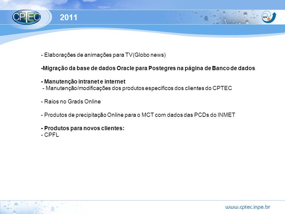 2011 - Elaborações de animações para TV(Globo news) -Migração da base de dados Oracle para Postegres na página de Banco de dados - Manutenção intranet