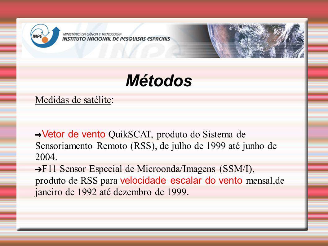 Métodos Medidas de satélite : Vetor de vento QuikSCAT, produto do Sistema de Sensoriamento Remoto (RSS), de julho de 1999 até junho de 2004. F11 Senso