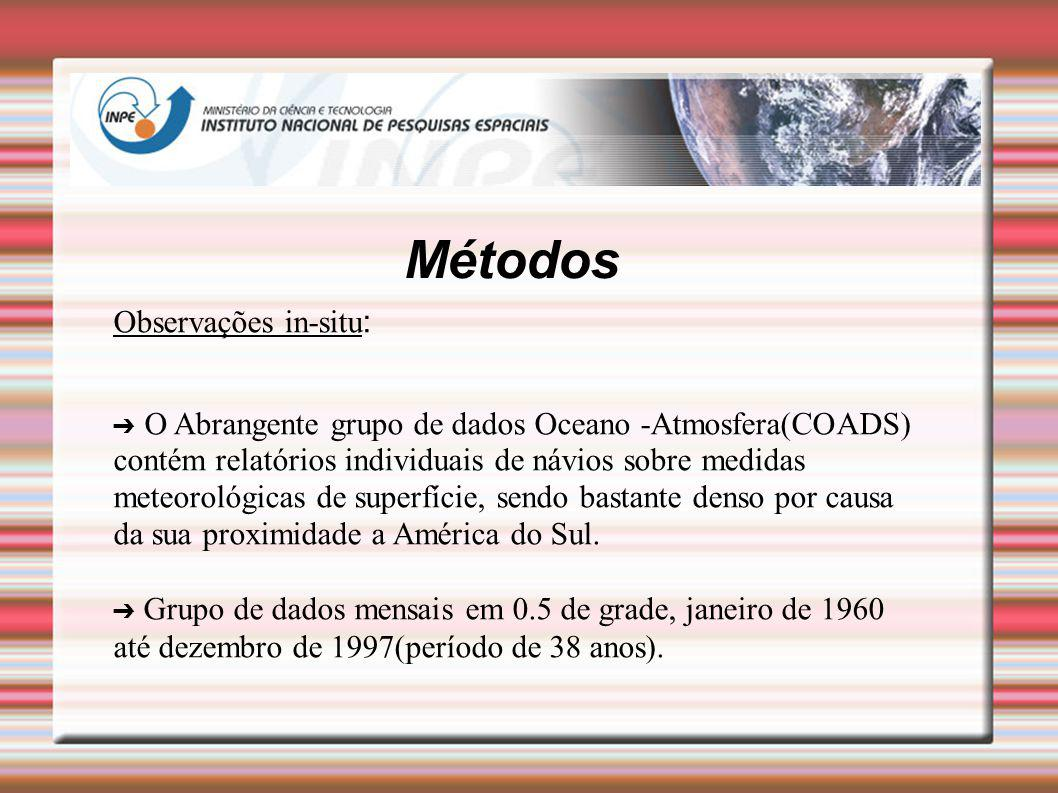 Métodos Observações in-situ : O Abrangente grupo de dados Oceano -Atmosfera(COADS) contém relatórios individuais de návios sobre medidas meteorológica