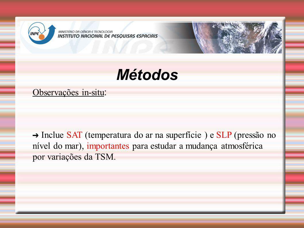 Métodos Observações in-situ : Inclue SAT (temperatura do ar na superfície ) e SLP (pressão no nível do mar), importantes para estudar a mudança atmosf