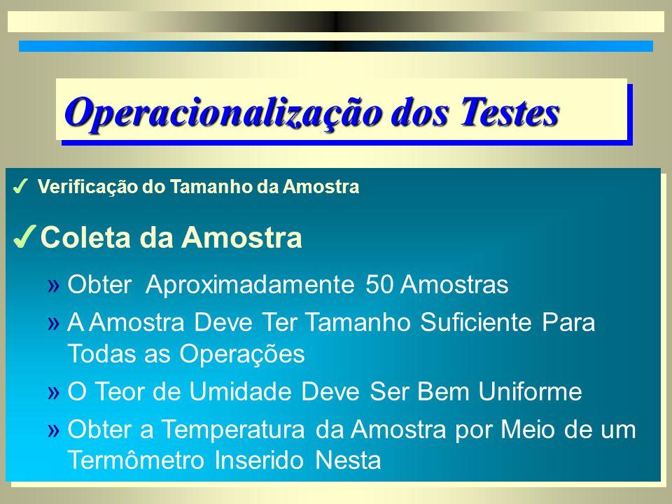 Operacionalização dos Testes 4Verificação do Tamanho da Amostra 4Coleta da Amostra 4Determinações na Amostra Teste 4Verificação do Tamanho da Amostra 4Coleta da Amostra 4Determinações na Amostra Teste