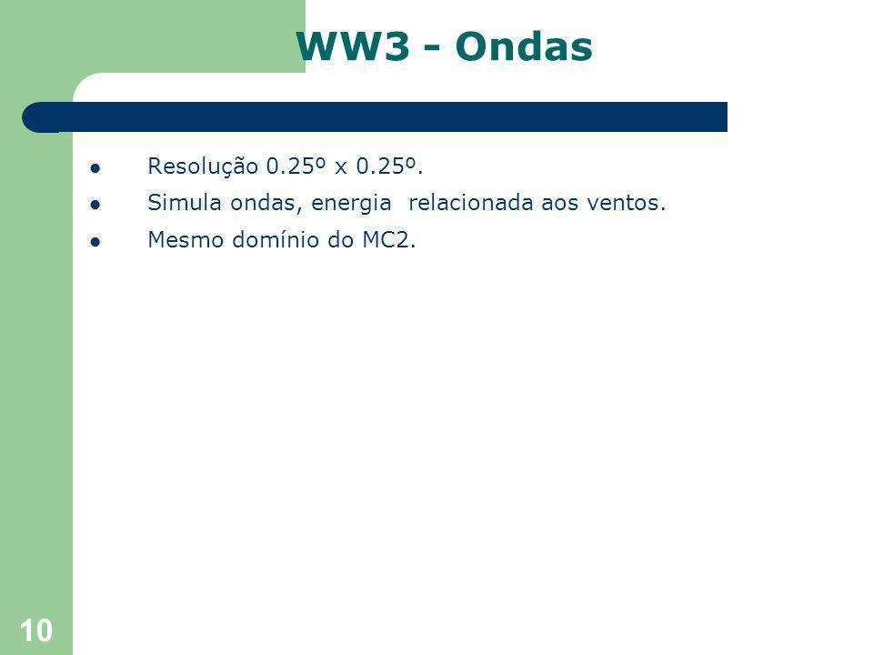 10 Resolução 0.25º x 0.25º. Simula ondas, energia relacionada aos ventos.