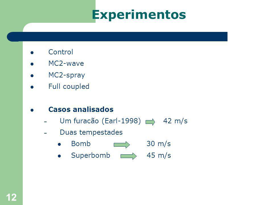 12 Control MC2-wave MC2-spray Full coupled Casos analisados – Um furacão (Earl-1998) 42 m/s – Duas tempestades Bomb 30 m/s Superbomb 45 m/s Experimentos