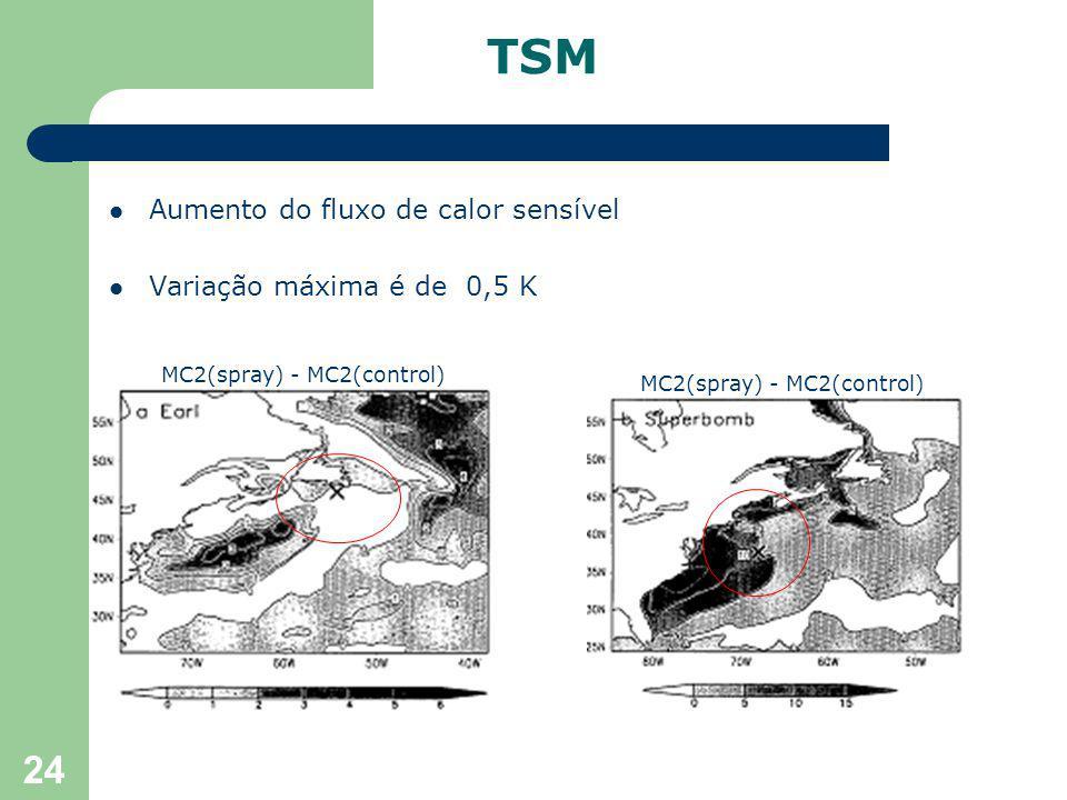 24 Aumento do fluxo de calor sensível Variação máxima é de 0,5 K TSM MC2(spray) - MC2(control)