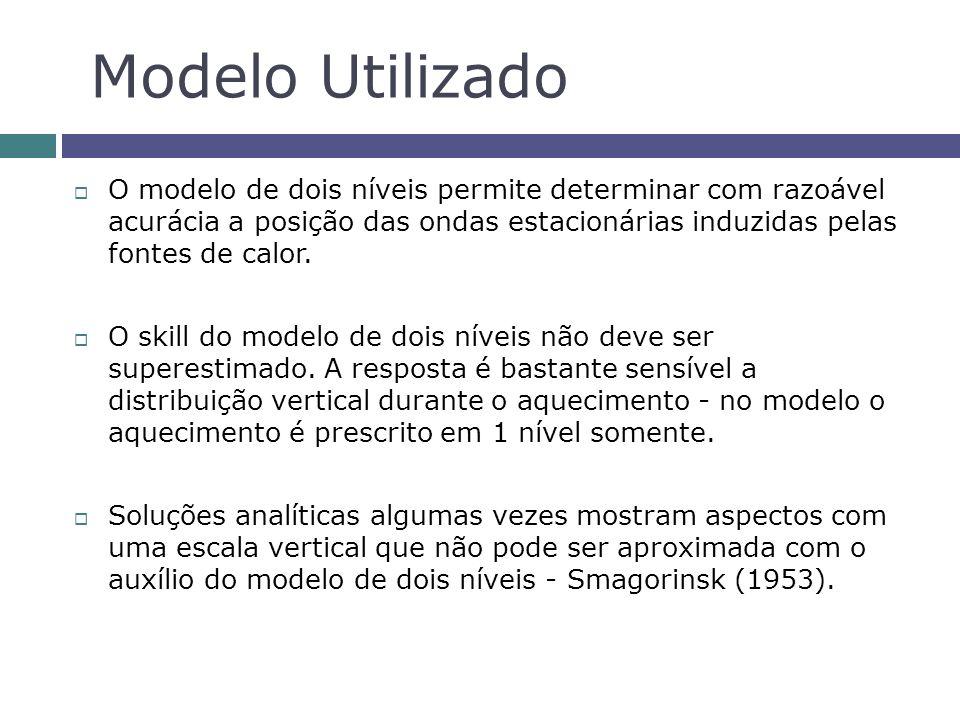 O modelo de dois níveis permite determinar com razoável acurácia a posição das ondas estacionárias induzidas pelas fontes de calor. O skill do modelo