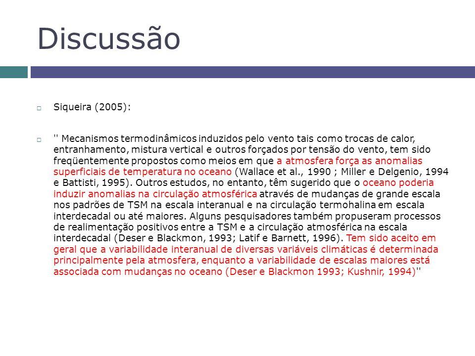 Discussão Siqueira (2005): '' Mecanismos termodinâmicos induzidos pelo vento tais como trocas de calor, entranhamento, mistura vertical e outros força