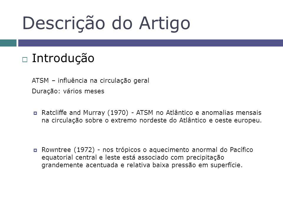 Descrição do Artigo Introdução ATSM – influência na circulação geral Duração: vários meses Ratcliffe and Murray (1970) - ATSM no Atlântico e anomalias mensais na circulação sobre o extremo nordeste do Atlântico e oeste europeu.