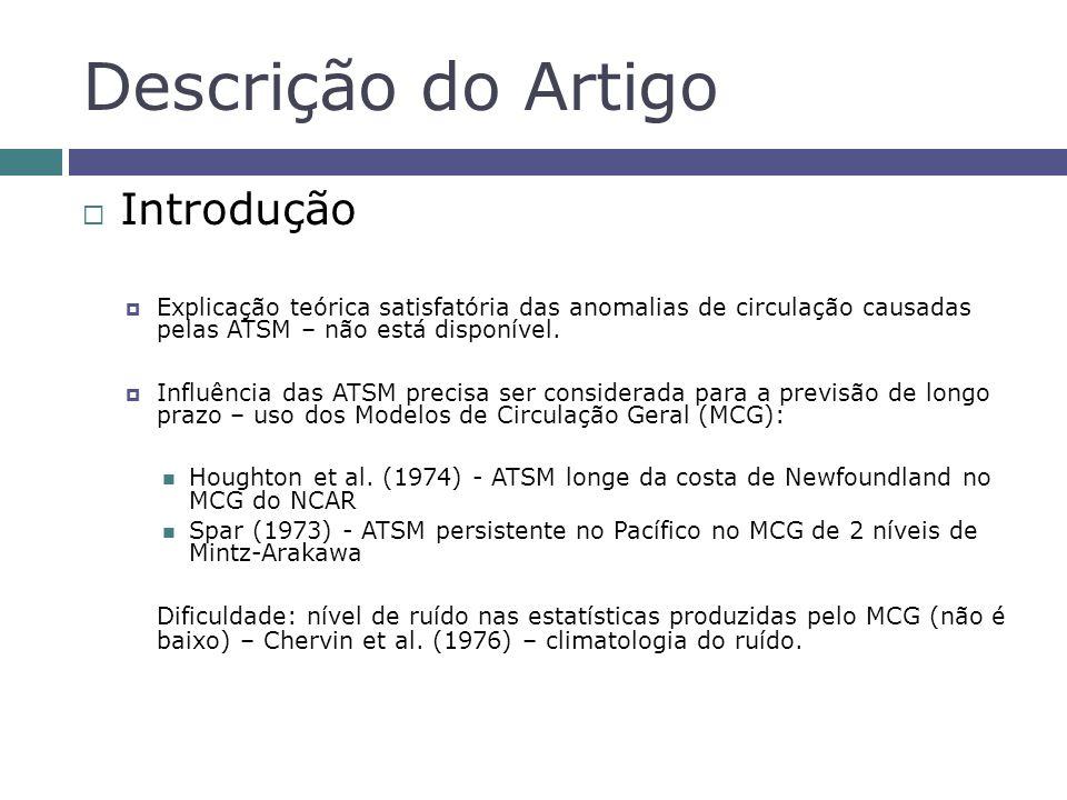 Descrição do Artigo Introdução Explicação teórica satisfatória das anomalias de circulação causadas pelas ATSM – não está disponível. Influência das A