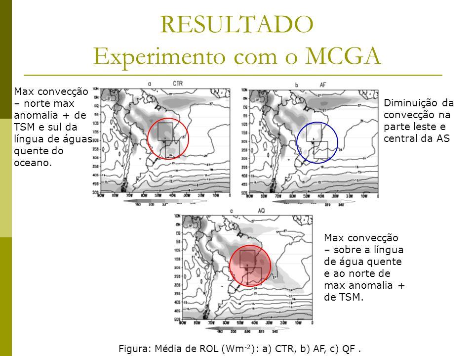 RESULTADO Experimento com o MCGA Figura: Média de ROL (Wm -2 ): a) CTR, b) AF, c) QF.