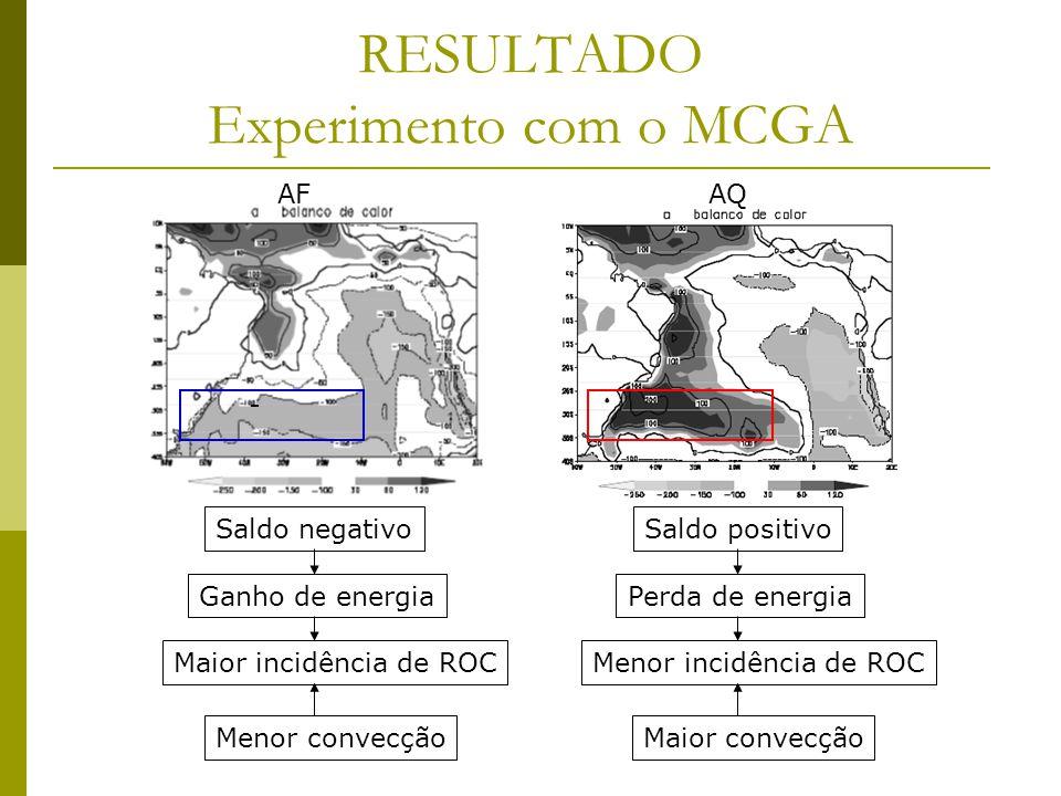 RESULTADO Experimento com o MCGA AFAQ - Saldo negativo Ganho de energia Maior incidência de ROC Menor convecção Saldo positivo Perda de energia Menor incidência de ROC Maior convecção