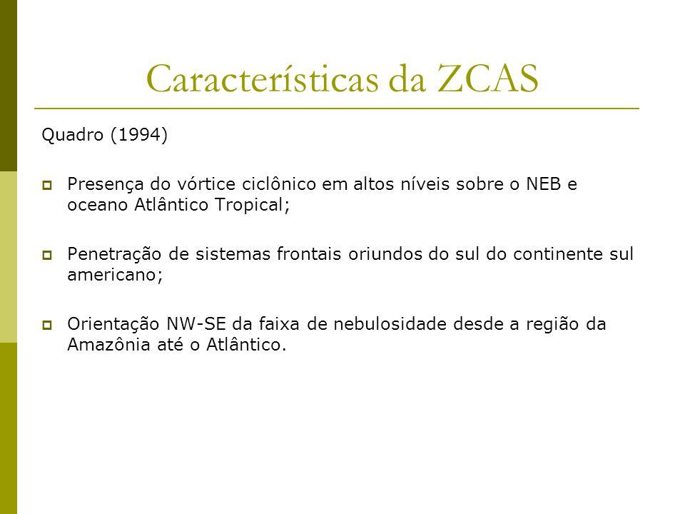 Características da ZCAS Quadro (1994) Presença do vórtice ciclônico em altos níveis sobre o NEB e oceano Atlântico Tropical; Penetração de sistemas frontais oriundos do sul do continente sul americano; Orientação NW-SE da faixa de nebulosidade desde a região da Amazônia até o Atlântico.