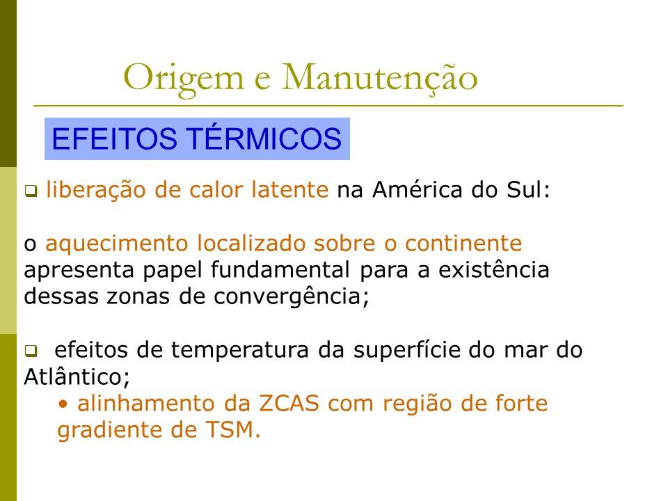 Origem e Manutenção liberação de calor latente na América do Sul: o aquecimento localizado sobre o continente apresenta papel fundamental para a existência dessas zonas de convergência; efeitos de temperatura da superfície do mar do Atlântico; alinhamento da ZCAS com região de forte gradiente de TSM.