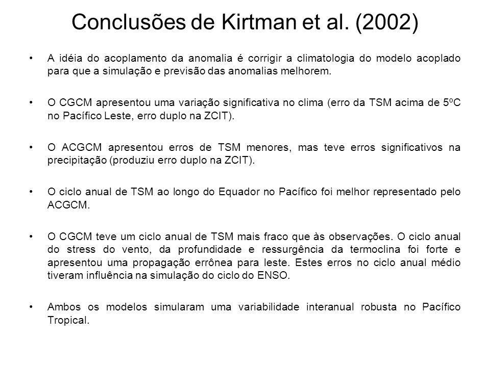 Conclusões de Kirtman et al. (2002) A idéia do acoplamento da anomalia é corrigir a climatologia do modelo acoplado para que a simulação e previsão da