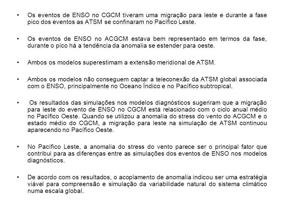 Os eventos de ENSO no CGCM tiveram uma migração para leste e durante a fase pico dos eventos as ATSM se confinaram no Pacífico Leste.