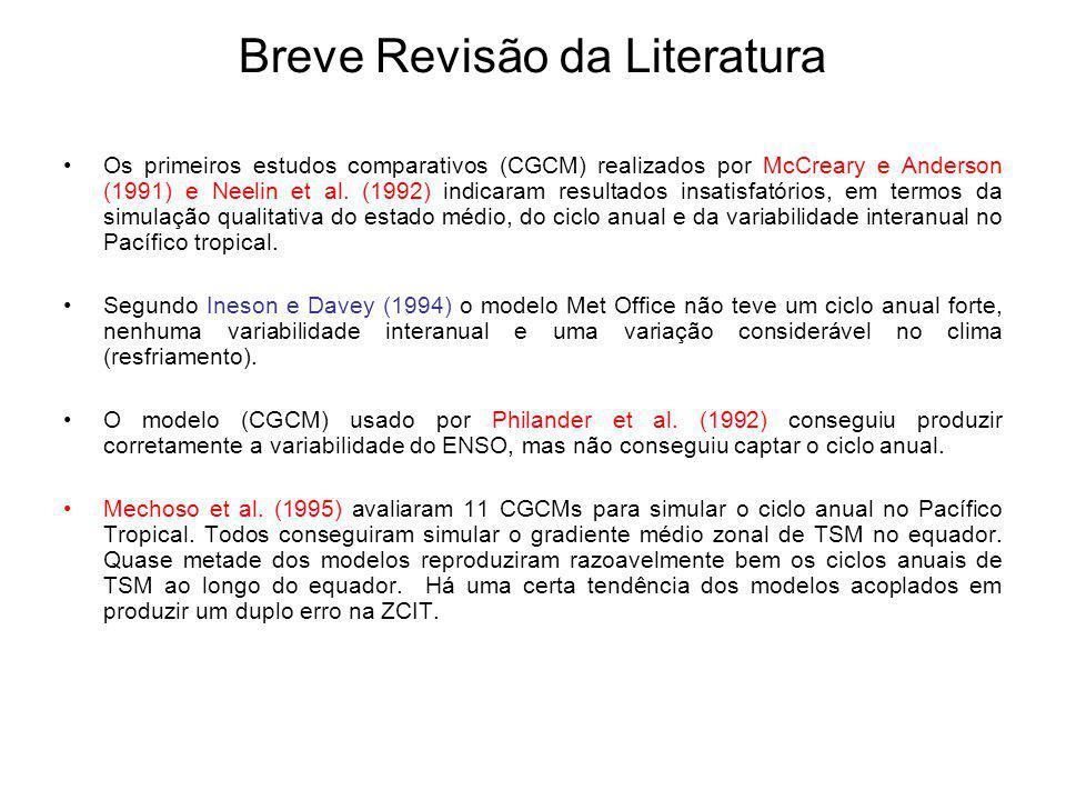Breve Revisão da Literatura Os primeiros estudos comparativos (CGCM) realizados por McCreary e Anderson (1991) e Neelin et al. (1992) indicaram result