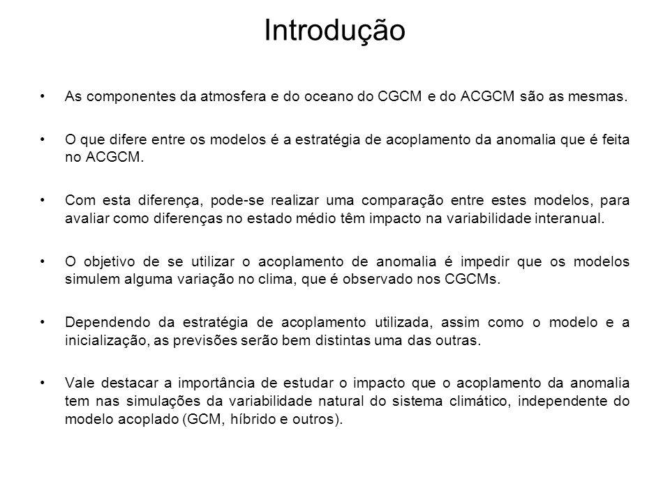 Introdução As componentes da atmosfera e do oceano do CGCM e do ACGCM são as mesmas. O que difere entre os modelos é a estratégia de acoplamento da an