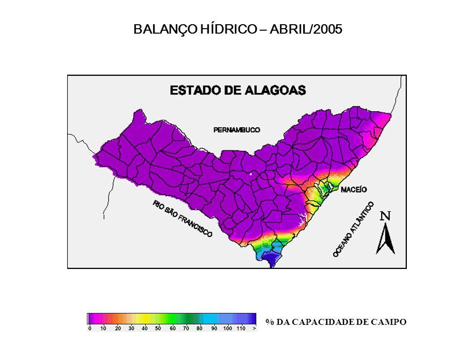 BALANÇO HÍDRICO – ABRIL/2005 % DA CAPACIDADE DE CAMPO